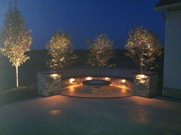 Curved Concrete Seatwall with Under Ledge Lighting