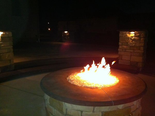 Fireglass Gas Firepit at Night