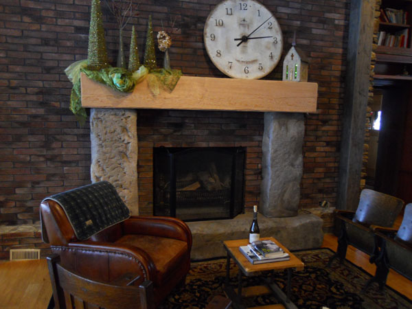 Natural Rustic Concrete Stone Fireplace Surround