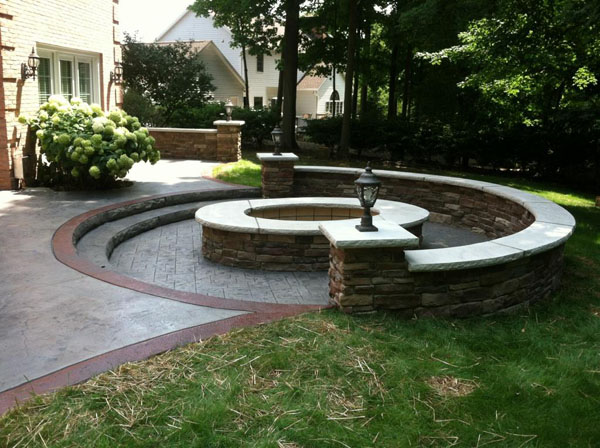 Seamless Roman Slate Patio with Oval Wood Burning Firepit