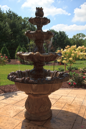 Acid Stained Patio Fountain