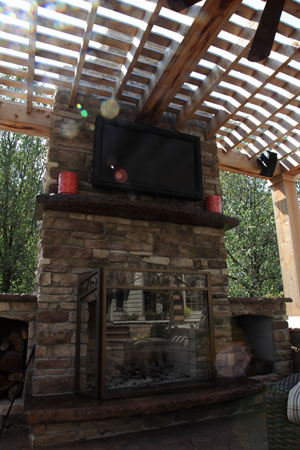 Custom Concrete Outdoor Fireplace Mantel
