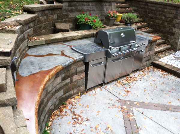 GFRC Acid Stain Concrete Top with Existing Grill