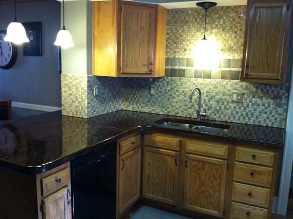 ... Glass Tiled Back Splash With Acid Stain Concrete Countertop
