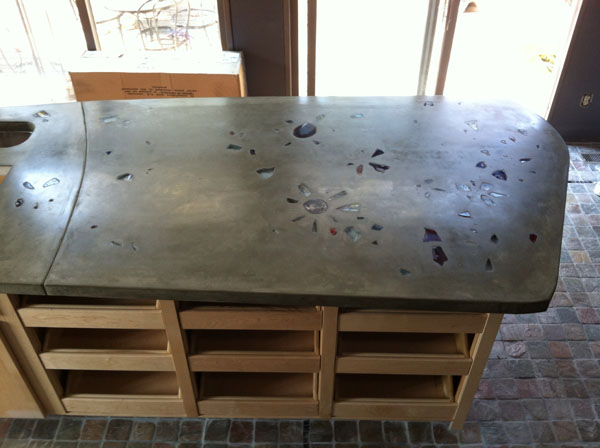 Indoor Concrete Countertop with Recycled Glass Inlay with Fiberoptic Lighting