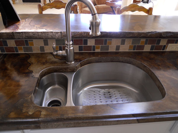 Concrete Countertop With Undermount Stainless Steel Sink