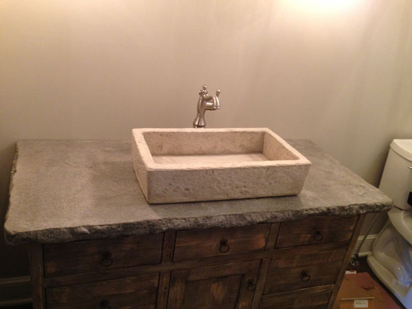 Square Vessel Concrete Sink and Top