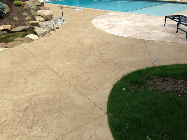 Pool Deck Resurfaced with Stamped Concrete