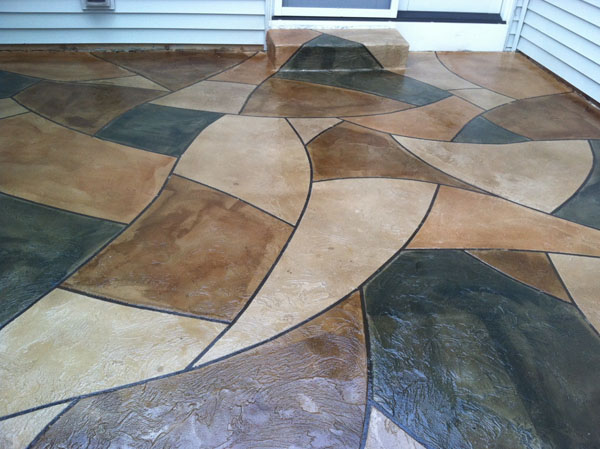 ... Stained Stencil Pattern Patio Overlay