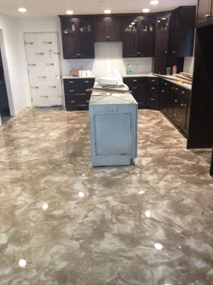 Kitchen Metalic Epoxy Flooring