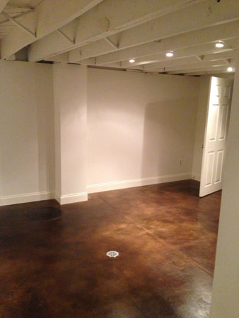 Chocolate Leather Acid Stained Basement Floor