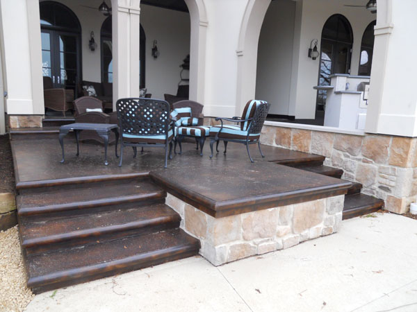 Brown Stained Concrete Porch