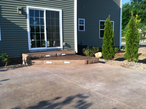 Lighted Stamped Concrete Steps