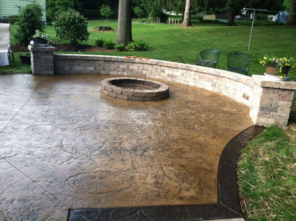 Stamped Concrete Patios With Seat Walls And Pictures to ...