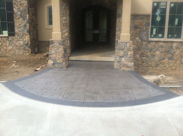 Stamped Entry with Stone Pillars
