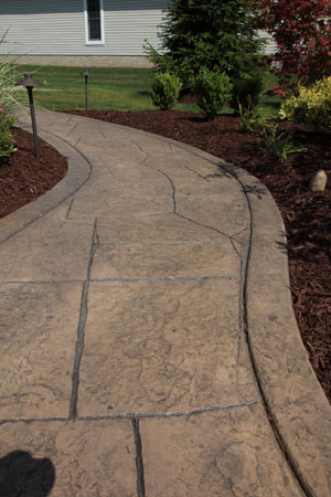 Brown Stamped Concrete Walkway