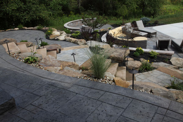 ... Hillside Tiered Multi Level Concrete Patios