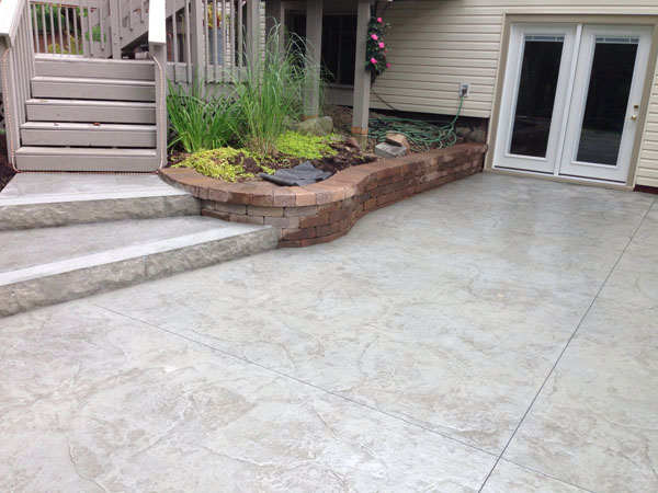 G m concrete stamped decorative for Walkout basement backyard ideas
