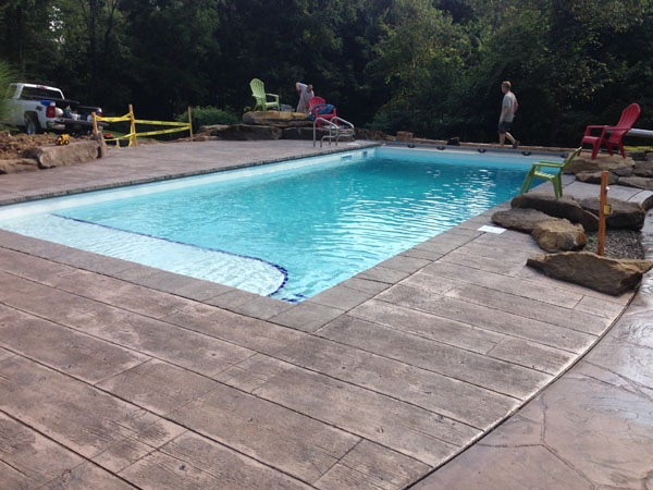 Concrete Wood Plank Pool Deck