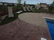Stamped Concrete Pool Patio with Paver Designs and Synthetic Turf