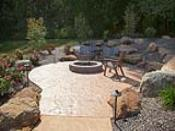 Stamped Concrete Firepit Patio in Hillside