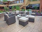 Plenty of Seating on Stamped Concrete Firepit Patio